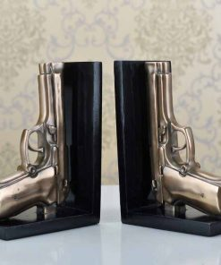Creative Pistol Model Bookends Decorative Resin Gun Book Stands Organizer 2